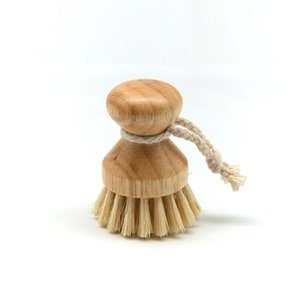 144pcs lot Kitchen Cleaning Brush Wooden Short Handle Round Dish Brush Bowl Pot Brush High Quality Durable Cleaning Tool LX2805