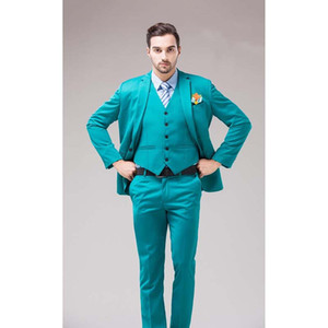 2020 Green Blue Groom Tuxedos Notch Lapel Men's Suits Turquoise Bridegroom Wedding Dinner Best Man Suits (Jacket+Pants+Vest)