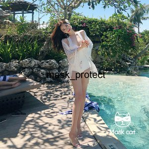 Masquerade cat lace swimsuit women's one-piece blouse two-piece set sexy belly covering slimming hot spring holiday bikini