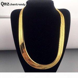 High Quality 75cm*10mm Hip Hop Mens Herringbone Chain Golden Necklace Rapper Chunky Chain Boys Rapper Nightclub Dj Jewelry J190526
