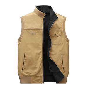 menscotton with two sides new casual large size waistcoat outdoor middle-aged and elderly vest