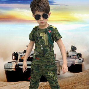 vCy4W 2020 new children's short sleeve boys' summer dress embroidered Embroidereduniformuniformuniform style camouflage suit two-piece suit