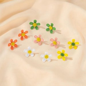New Arrival Spring Summer Earrings Female Colorful Flower Sweet Simple Girls Stud Earing Fashion Jewelry For Party Accessories
