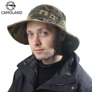 CAMOLAND 100% Cotton Boonie Hats For Women Men Camouflage Bucket Hat Outdoor UV Protection Fishing Hiking Caps Summer Sun Hat