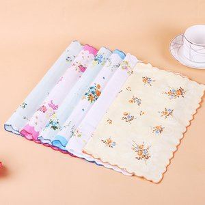 Cotton Handkerchief Floral Embroidered Women Handkerchiefs Flower Lady Hankies Mini Square Scarf Boutique Pocket Towel Free Shipping YW3357