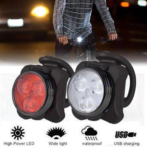 Bicycle Light Waterproof 3 LED Head Front light 4 modes USB Rechargeable Tail Clip Lamp Safety Warning