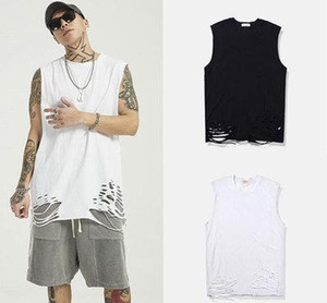 2020 White Black Vest Streetwear Hip Hop Mens Tank Tops Print Casual Sleeveless Shirts Cotton 2020 oversized ripped tank top