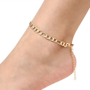 Retro Metal Gold Silver Color Figaro Snake Link Chain Anklet For Women Men Ankle Bracelet Fashion Beach Accessories Foot Jewelry ps1211