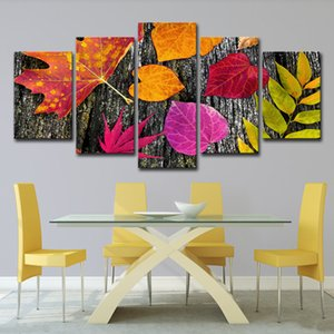 Unframed Colored Leaves Canvas Wall Art Decor Painting Pictures for Living Room Home 5 Pieces