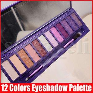 Новый макияж глаз 12 цветов Ультрафиолетовая палитра тени Фиолетового Матовый Shimmer Eye Shadow с щеткой