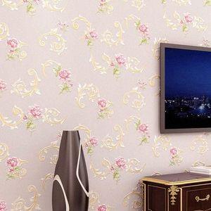 PAYSOTA papel pintado 3D estilo europeo caliente pequeño jardín de flores no tejido Habitación Sala de TV Sofá papel tapiz de fondo fondos de pantalla HD # bfVm