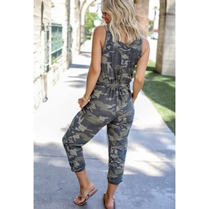 Sleeveless Camouflage Vest Drawstring Jumpsuits Military Army Combat Camouflage Long Pants Hot Capris Hip Hop Trousers Pants