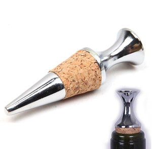 Reutilizable aleación de zinc en forma de cono de madera tapón del vino, la cerveza suave botella de la bebida del tapón del vino para la barra casera del partido SN1267