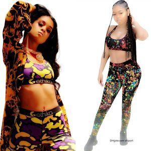 ethika underwear ethika Ethika Kadınlar Eşofman Kamuflaj Sütyen Pantolon İki Adet Kıyafetler Yaz Moda Koşucular Giyim ETWS3 Koşu Suits Spor moda