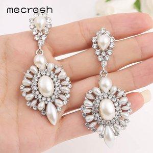 Mecresh Fashion Simulated Pearl Women Drop Dangle Earrings Silver Color Crystal Teardrop Bridal Wedding Party Earrings MEH1709