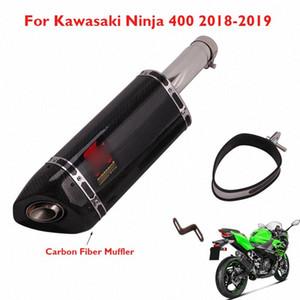 Pot d'échappement en fibre de carbone Silencieux Tip Escape System Enfilez Ninja 400 du tuyau d'échappement pour Ninja 400 2018 2019 seKB #