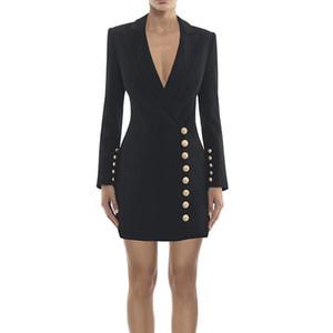 HIGH QUALITY 최신 패션 2020 세련된 디자이너 드레스 여성의 금속 버튼 노치 칼라 슬림 드레스