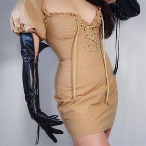 """GUANTI LUNGHI TECH Faux Leather PU 24"""" 60cm Nero Guanti in pelle di Extra Long Argento Zipper nappa donne Touchscreen WPU172"""