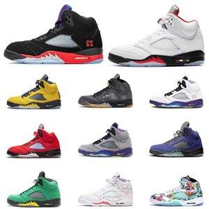 Negro muselina Rojo Fuego 5s Jumpman 5 para mujer de los zapatos de baloncesto retro alternativo Bel Air Michigan para hombre de las zapatillas de deporte entrenadores tamaño 13