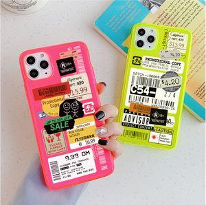 sello fluorescente código de barras etiqueta de caja del teléfono iPhone durante 11 MAX Pro X XR XS MAX 8 7 Plus SE 2020 Tapa fundas transparentes lindas
