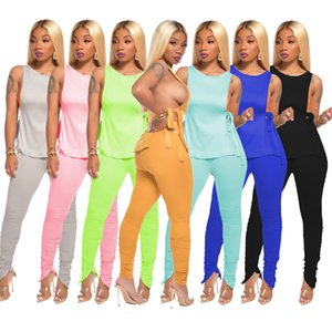 Women's Sexy Nightclub Wear Two Piece Sets 2020 Summer Sleeveless Backless Lace-Up Tops Skinny Draped Zipper Pencil Pants Sets