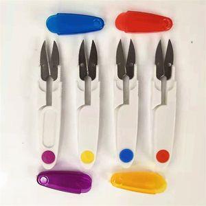 Ciseaux couverture plastique Cutter V Couvercles Forme de Sharp ressort Cisailles gaine Fourreau fil de soie Bureau manuel 0 92wp C2