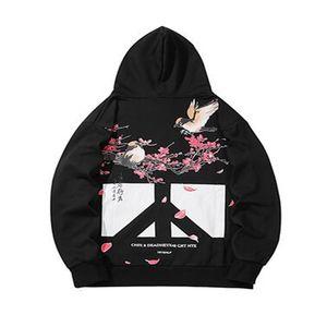 Hommes Hip Hop Sweat Hoodies Floral imprimé oiseaux 2020 Kanji Harajuku Streetwear chinois Pull à capuche automne HipHop surdimensionné