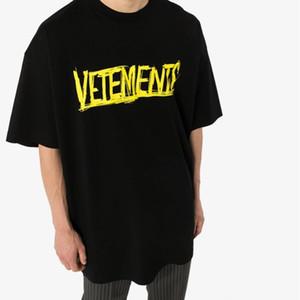 21SS NEW VT 노란색 슬로건 문자 인쇄 짧은 소매 티 패션 하이 스트리트 코튼 셔츠 남성 여성 커플 여름 T 셔츠 HFXHTX339