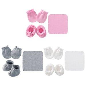Baby Newborn Saliva Towel Gloves Foot Cover Set Soft Cotton Anti Scratch Mittens Feeding Burp Cloth Bib Socks Kits