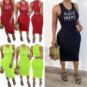 BLACK SMART Letter Printing Women's Summer Dress Designer Dresses Sexy Bodycon Sleeveless Beach Casual Pleated Dresses Clothing S-XXL D7608