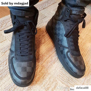 Rivoli Sneaker With Plaid Leather Mens Designer Shoes High Casual Shoes Hook And Loop Lace Up Shoes With Box Lll14