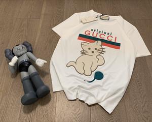 2020 Erken sonbahar kedi ve top baskı erkek tasarımcı tişörtleri lüks markaların sweatshirt göğüs cebi olağan biçimde Kısa Kollu Tee S-L 723 womens