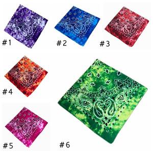 54 * 54CM Cotone novità Double Sided Tie Dye Bandane Cowboy Bandana Fazzoletti Paisley Tie Dye capo della sciarpa dell'involucro EEA1877
