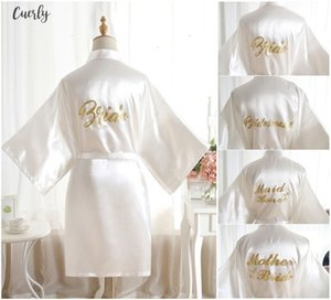 Large Sexy Size Sexy Satin Night Robe Bathrobe Bell Perfect Wedding Bride Bridesmaid Robes Dressing Gown For Women Golden Word Robes