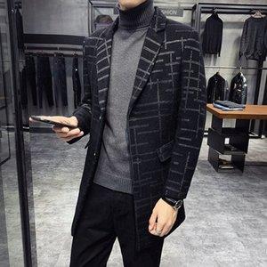 Erkek Montlari Düz Adam 2020 Sonbahar Yünlü Erkek Uzun Çizgili Yün Palto Slim Fit Coat WINDBREAKER Mantel Wolle W43O #