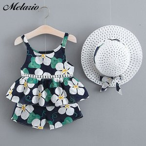 Melario Summer Girls Set Bohemian Girl Suit bambini floreali Gilet Pantaloncini con cappello 3PCS Suit splicing Sundress Abbigliamento principessa
