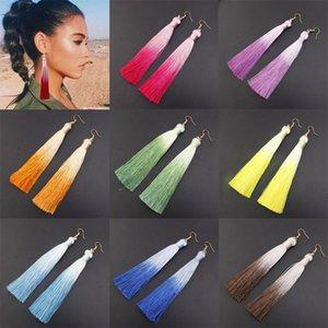 Women Fashion Bohemian Jewelry Long Tassel Fringe Boho Hook Drop Dangle Earrings