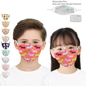 9 Дизайна 3D Digital печататься Дети Мультфильм Маски для лица Регулируемых защитной маски PM 2.5 пыл Anti-Haze многоразового маска с 2 Фильтрами
