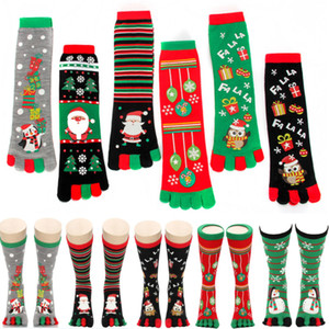 Рождество Пять пальцев носки украшения колено высокие чулочно-носочные изделия для девочек Разминка Чулки Одежда Носки Обувь Xmas Gifts Wrap носки DHA552