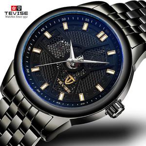Tevise Swiss Mens Watch Brand Hot Selling TikTok Popular Simple Fashion Watch Fashion Hollow Steel Belt Mechanical Watch