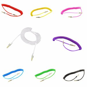 200pcs Retractable 3.5mm Aux Cables Mobile Phone Audio Cable Male to Spring for Car Sumsung iphone 5 6 6S