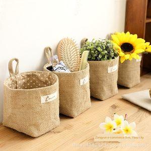 New zakka fabric flowerpot small sack hanging cotton linen cotton linen jute dot stripe storage basket storage hanging bag