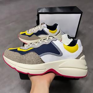 New Mens Rhyton Sneaker Casual sapatos Top bezerro Dad sapatilha da Moda de Paris A parte inferior vermelha Sapatos Mulheres Sapatilhas de couro genuíno com a caixa