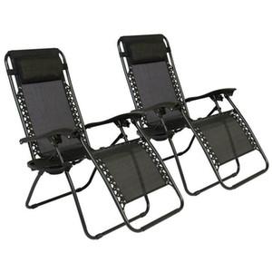 Zero Gravity Chaises cas (2) Salon Patio Chaises extérieur Cour Beach- Brown