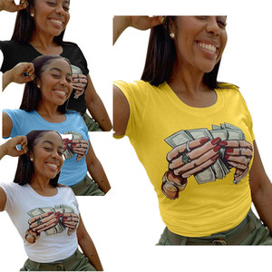 2020 المرأة الصيف T الدولار قميص اليد مطبوعة جولة عنق قصير الأكمام البلوز القمم تيز موضة تصميم البلوز الساخن بيع LY713