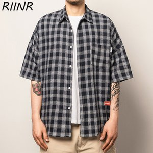 Riinr 2020 Sommer-Männer Plaid Stattliche Kurzarm Shirt M-5XL