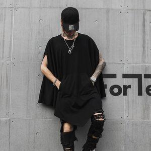 Hommes Boîte de nuit DJ chanteur punk rock surdimensionnée long T-shirts Costume de scène gothique Hip Hop Cape Harajuku Vintage Streetwear