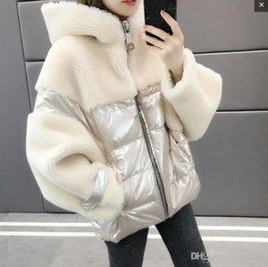 Women winter warm Lamb cashmere splice duck down Plush hood long Soft cotton coat Fashion street shooting OL student girl cute down jacket