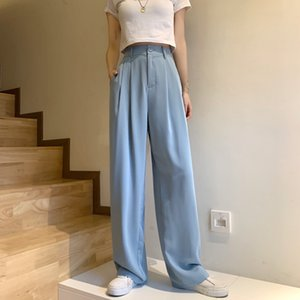HziriP High Waist Straight Wide Leg Pants Women 2020 New Autumn Summer Bottoms Solid Loose Casual Full Length Suit Pants