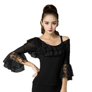 Sexy Latin Dance Tops For Lady Black Fashion Modal Wear Women Ballroom Shirt Tango Samba Competitive Professional Costumes